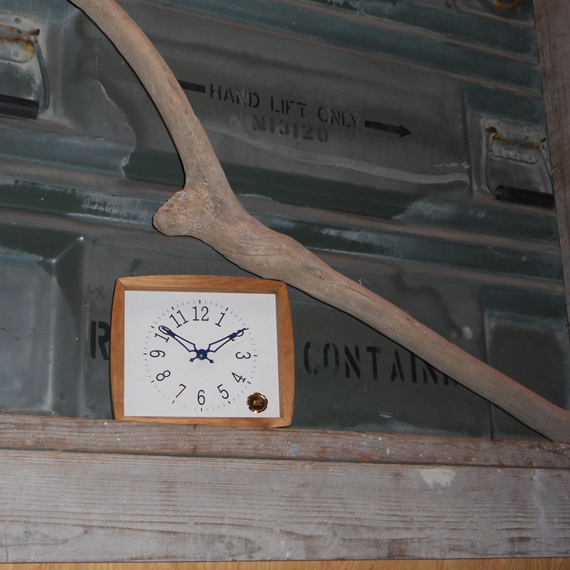 Kanbatsu 4 kaku (r) wall clock 檜_10